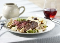 Tradiční hovězí steak se žampiony